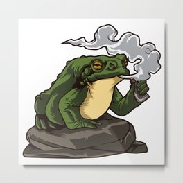 Vaping Toad   Vape Vaper Frog Animal Chill Relax Metal Print
