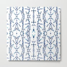 Vines Kaleidoscope (blue on white) Metal Print
