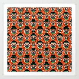 Hipster Pug Pattern Art Print