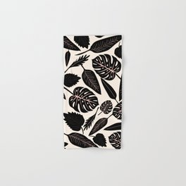 Monstera pattern in black and pastel Hand & Bath Towel