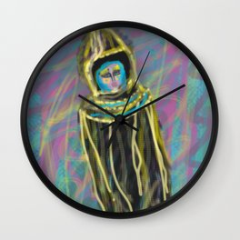 Woman in the color desert by Jana Sigüenza Wall Clock