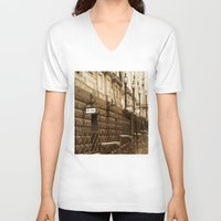 melbourne V-neck T-shirts featuring Collins St, Melbourne, Australia by SwanniePhotoArt