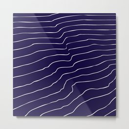 Contour Lines Dark Blue Metal Print
