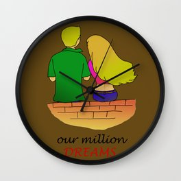 Loving Couple Sitting Lonely With Million Dreams Wall Clock