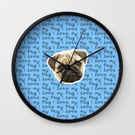 I Love My Pug Monogram Wall Clock