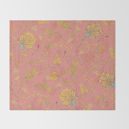 Paradise Florals - Coral & Yellow Throw Blanket