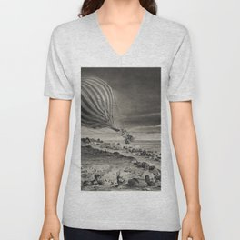 Descent of the balloon Neptune in the cliffs of Cap Gris-Nez baloon trip in Calais by Albert Tissand Unisex V-Neck