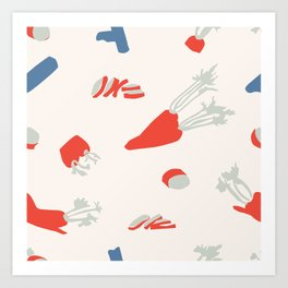 Minimal retro pattern with carrot&celery Art Print