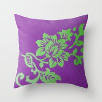 floral pattern Throw Pillows featuring Floral Pattern by Marjolein