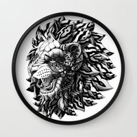 bioworkz Wall Clocks featuring Lion by BIOWORKZ