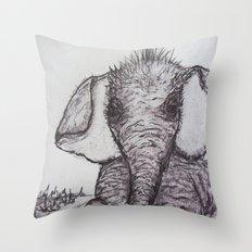 An Adorable Baby Elephant Throw Pillow