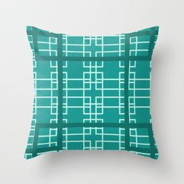 Midcentury Modern Geometric Turquoise Throw Pillow