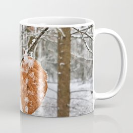 Frosted Leaves in Winter Forest Coffee Mug