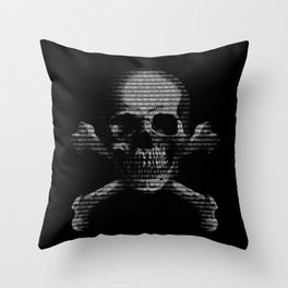 Hacker Skull and Crossbones Throw Pillow