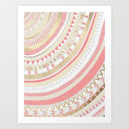 Coral + Gold Tribal Art Print