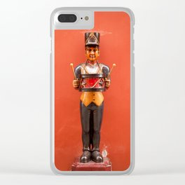 Carved drummer figure decoration Clear iPhone Case