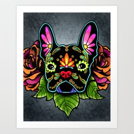 French Bulldog in Black - Day of the Dead Bulldog Sugar Skull Dog Art Print