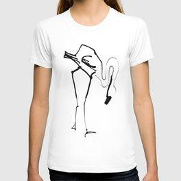 Simple Black Ink Flamingo Illustration, Minimalist Art. T-shirt
