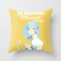kuroko Throw Pillows featuring The Basketball Which Kuroko Plays by Alyssa Tye