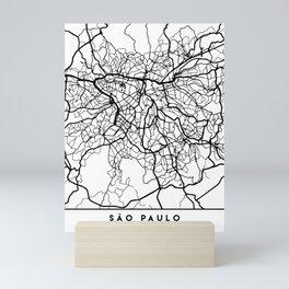 SAO PAULO BRAZIL BLACK CITY STREET MAP ART Mini Art Print