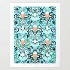 Ocean Aqua Art Nouveau Pattern with Peach Flowers Art Print