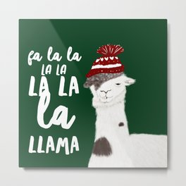 Christmas Llama With No Drama Metal Print