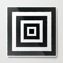 Square Black and White Illusion Metal Print