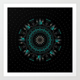 Buffalo Skull and Feathers (Aqua) Art Print