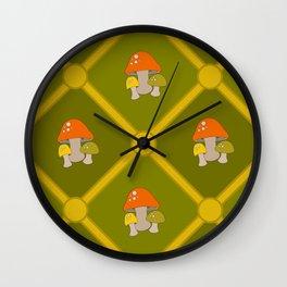 Retro Mushrooms Wall Clock