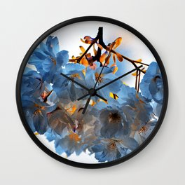 SPRING BLOSSOMS - IN BLUE Wall Clock