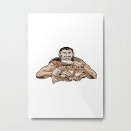 Neanderthal Man Eating Paleo Diet Etching Metal Print