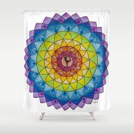 Rainbow Yoga Goddess Meditation Mandala Colored Pencil Illustration by Imaginarium Creative Studios Shower Curtain