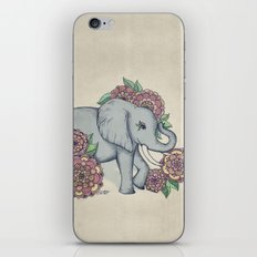 Little Elephant in soft vintage pastels iPhone & iPod Skin