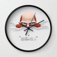 shingeki no kyojin Wall Clocks featuring Shingeki no Colossy! by FlaminiaKennedy