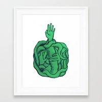 cthulu Framed Art Prints featuring Sea Green by Ninjaninaiii