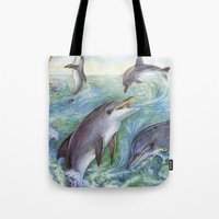 dolphins Tote Bags featuring Dolphins by Natalie Berman