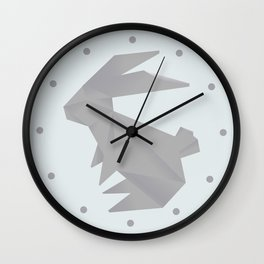 Always On My Mind - Origami Grey Rabbit Wall Clock