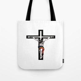 Christ Wearing Rainbow Loincloth On Stylized Cross Tote Bag