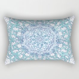 Aqua Lace Mandala Rectangular Pillow