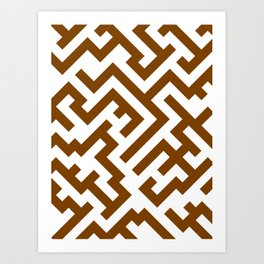 White and Chocolate Brown Diagonal Labyrinth Art Print