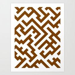 White and Chocolate Brown Diagonal Labyrinth Art Print