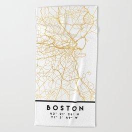 BOSTON MASSACHUSETTS CITY STREET MAP ART Beach Towel