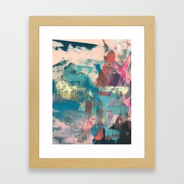 Sugar Rush [2]: a colorful, abstract mixed media piece in pinks, blues, and gold Framed Art Print
