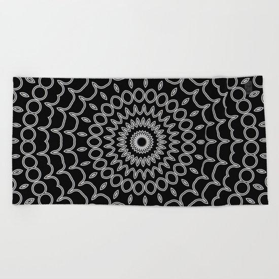 Mandala Fractal in Black and White Beach Towel
