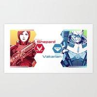 mass effect Art Prints featuring Mass Effect : Shep & Garrus by Wei723