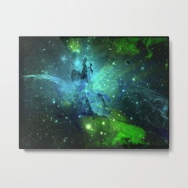 Blue Green Floral Space Explosion Metal Print