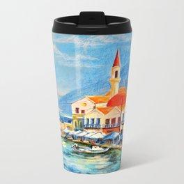 Sunny Greece Metal Travel Mug