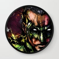 lantern Wall Clocks featuring Green Lantern by Vincent Vernacatola