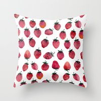 strawberry Throw Pillows featuring Strawberry by Tanya_Vazh