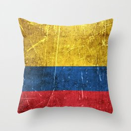 Vintage Aged and Scratched Colombian Flag Throw Pillow